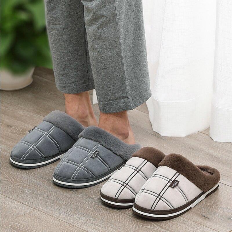 Men Winter Slippers Velvet Sewing Suede Indoor House Shoes Male Antiskid Anti Odor Short Plush Home Cozy Fur Slippers Men