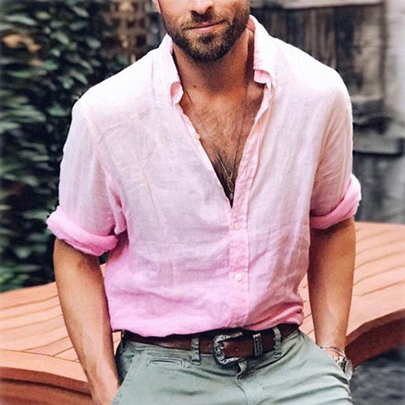 Fashion Men's  Long Sleeve Shirt Summer Cool Men Male Solid Loose Casual V-Neck Shirts Tops Basic Shirt Tops M-3XL