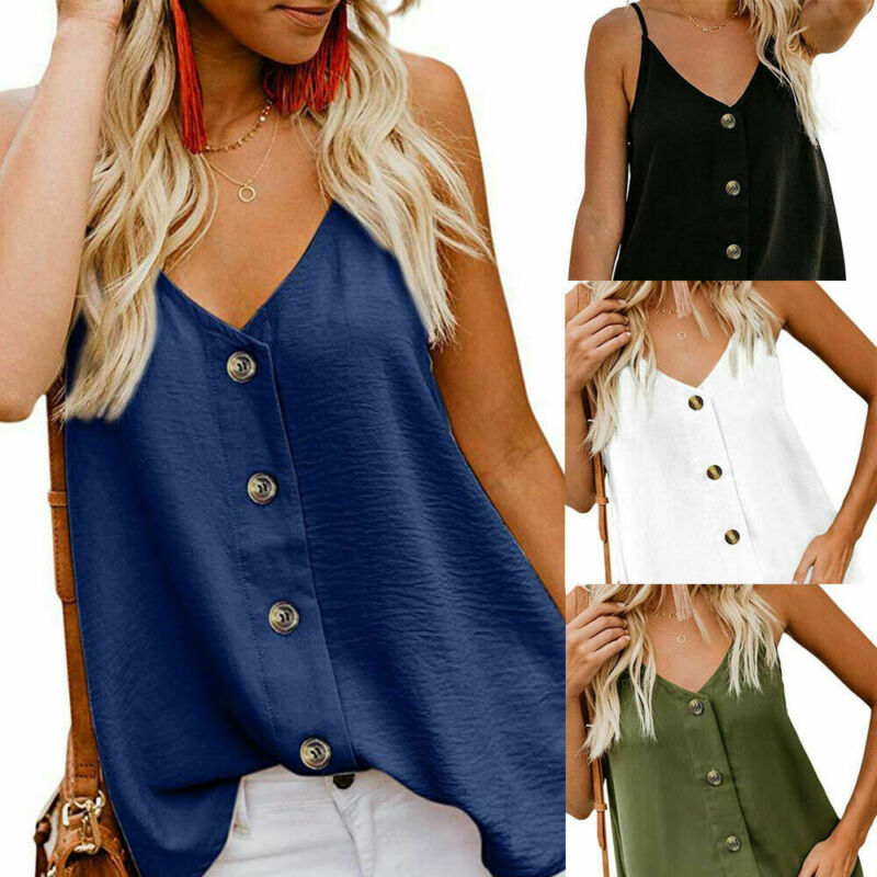 Summer Women Sleeveless Chiffon Button Tank Top Vest Soft Cami Tops in Tank Tops from Women 39 s Clothing