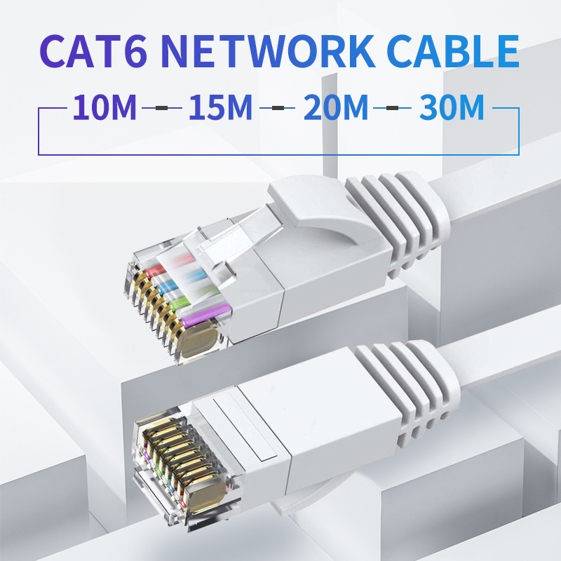 10m/15m/20m/30m Ultrafine Ethernet Patch Cable CAT6 Internet Network Flat Cable Cord Patch Lead RJ45 For Router Laptop Cable
