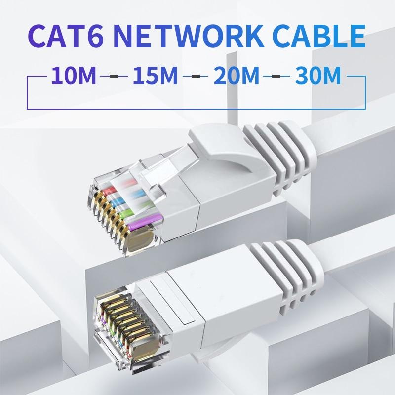 10 м/15 м/20 м/30 м ультратонкий Ethernet соединительный кабель CAT6 Интернет-плоский сетевой кабель, соединительный провод RJ45 для кабеля маршрутизато...
