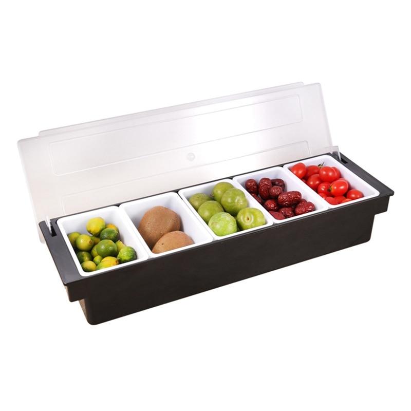 3/4/5/6 Compartment Condiment Dispenser Bar Fruit Caddy Garnish Tray Kitchen Spices Storage Holder Accessories