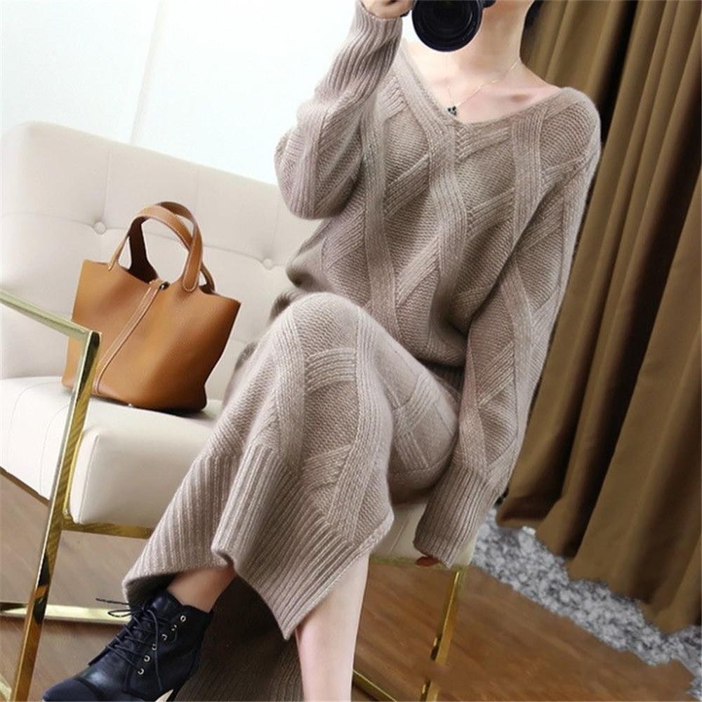 Elegant Ladies Solid Sweater + Skirt 2 Piece Set Women Fashion Loose Long Sleeve Knitted Pullovers Skirt Suits Winter Plus Size