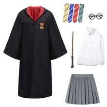 Dorosłych dzieci Potter płaszcz Cosplay kostiumy magiczne stroje koszula spódnica ubrania typu Cosplay szata Potter kostium hermiona mundurek szkolny tanie tanio CN (pochodzenie) anime Unisex Zestawy