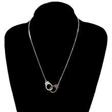 """Трендовая подвеска """"наручники"""", ожерелье в уличном стиле, металлическая Длинная цепочка, ожерелье для ключицы s для женщин, модное ювелирное изделие на шею XL842"""