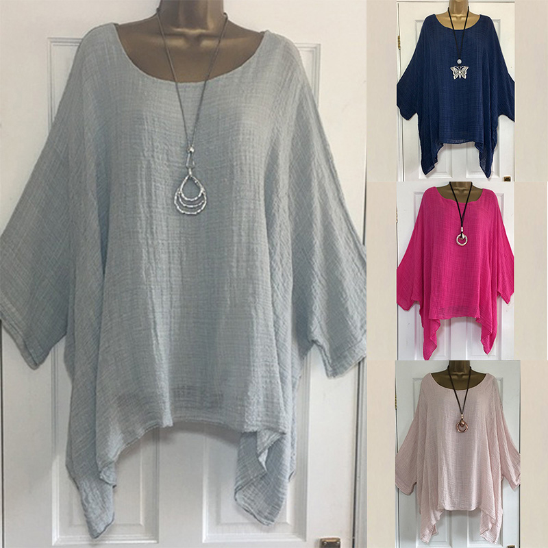 4XL 5XL Plus Size Casual Womens Tops And Blouses Loose O Neck Women Blouses Batwing Long Sleeve Solid Women Tunic Ladies Tops