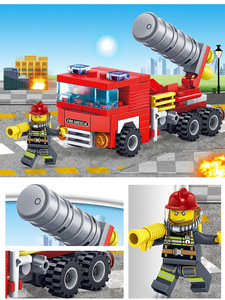 Image 3 - YUKALA  348pcs Fire Fighting Car Helicopter Boat Model Building Blocks City Firefighter Figures Trucks Bricks Childre