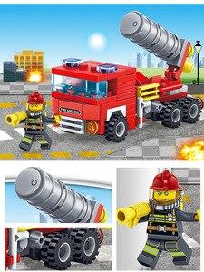 Image 3 - Yukala 348 pçs carro de combate a incêndios helicóptero barco modelo blocos de construção cidade bombeiro figuras caminhões tijolos criança