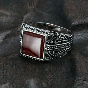 Image 3 - 925 Sterling Silver Rings Mens Rings Vintage Flower Engraved Black Green Red Natural Onyx Stone Square Shape Punk Turkey Jewelry
