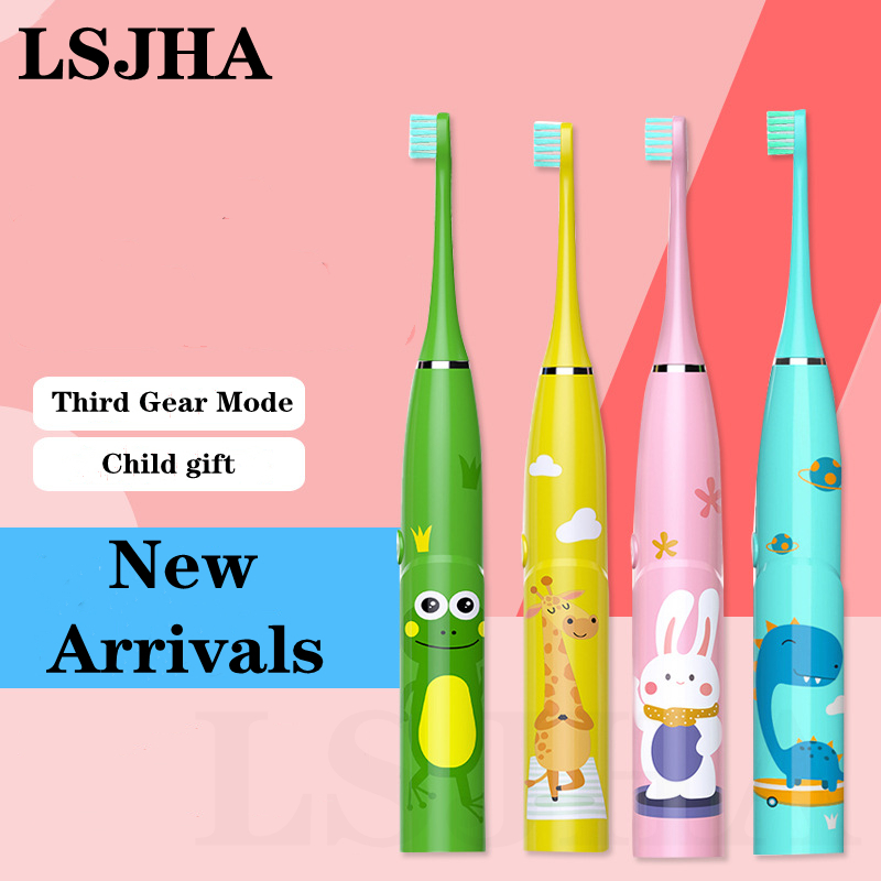 LSJHA Sonic Child Electric Toothbrush Kids Cartoon Pattern Medical Cleaning Oral 3-13 Years Old Brushing Replaceable Brush Head