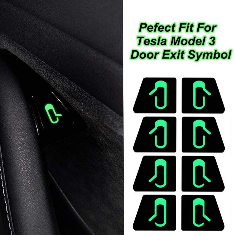 8pcs/set Fit For Tesla Model 3 Car Door Open Exit Luminous Sticker Decal Open Button Reminder
