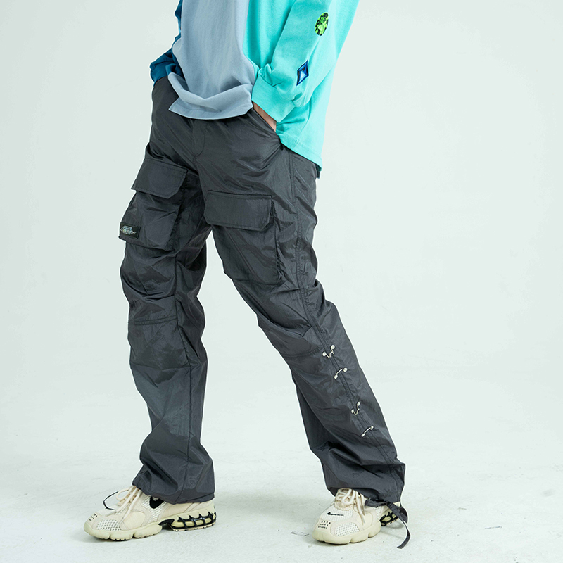 Harajuku Pockets Feet Drawstring Cargo Pants Men and Women Side Button Streetwear Plus Size Casual Trousers Hip Hop Overalls
