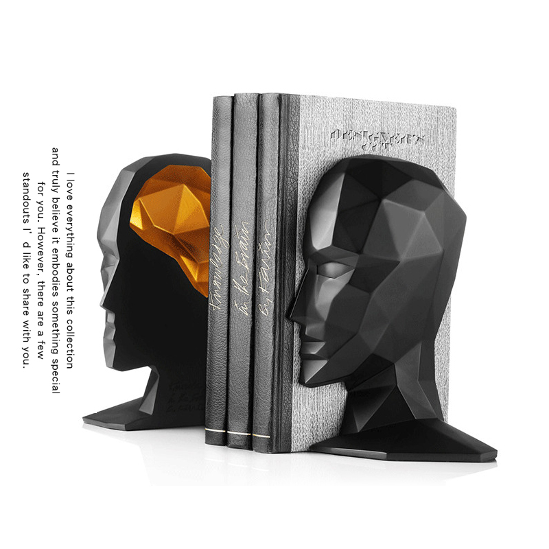 Free Shipping Elegant European Study Of High-Grade Office Decorations Resin Crafts Human Face Brain Bookends Best GIFT