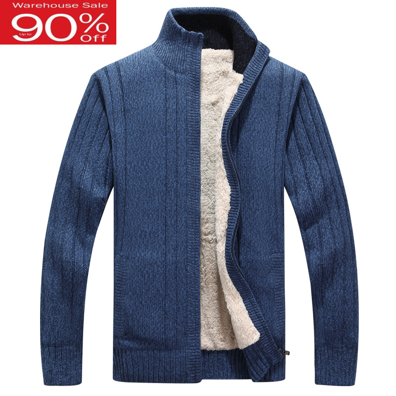 Men Thick Zipper 2020 New Winter Male Plus Velvet Thermal Sweater Teenage Boys Knitted Cardigan Coat Black Blue Gray M34