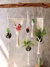 Cestas de suspensão 100% artesanal planta titular macrame planta pendurado vaso net cabide para decoração parede plantador pendurado