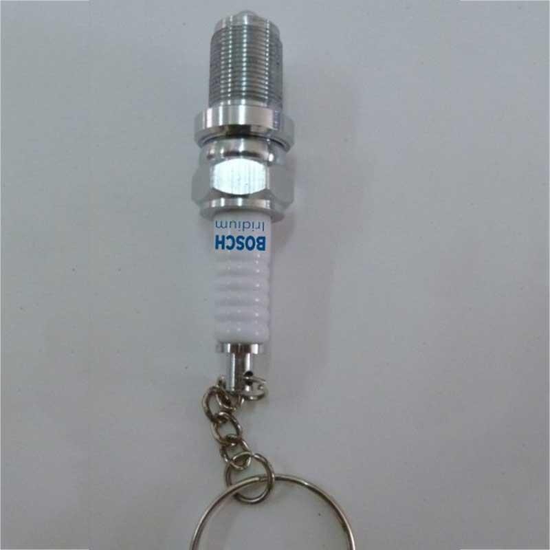 Creative Spark Plug Aluminium Alloy Metal Key Chain Keychain with LED Light