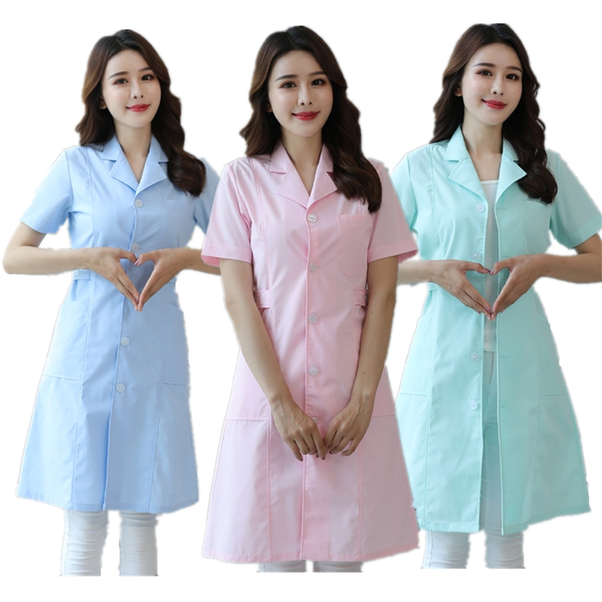 Summer Medical Uniforms Hospital Dental Clinic Nurse Clothes Short&Long Sleeve Beauty Salo Pharmacy Scrub Lab Coat Robes