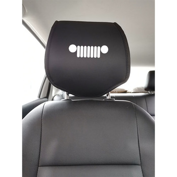 PU skórzany pokrowiec na zagłówek samochodowy dla Jeep Wrangler TrailHawk kompas Renegade Protector pokrowce na siedzenia samochodowe