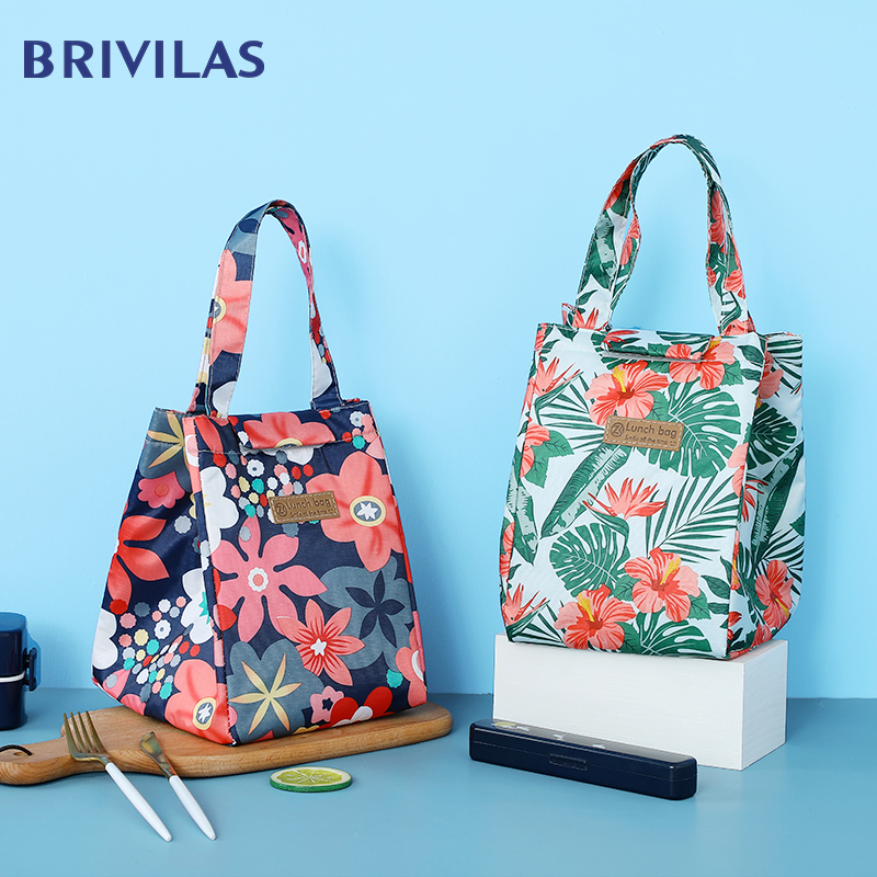 Brivilas Cooler Lunch Bag Fashion Flowers Multicolor Bags Women Waterpr Hand Pack  Thermal Breakfast Box Portable Picnic Travel