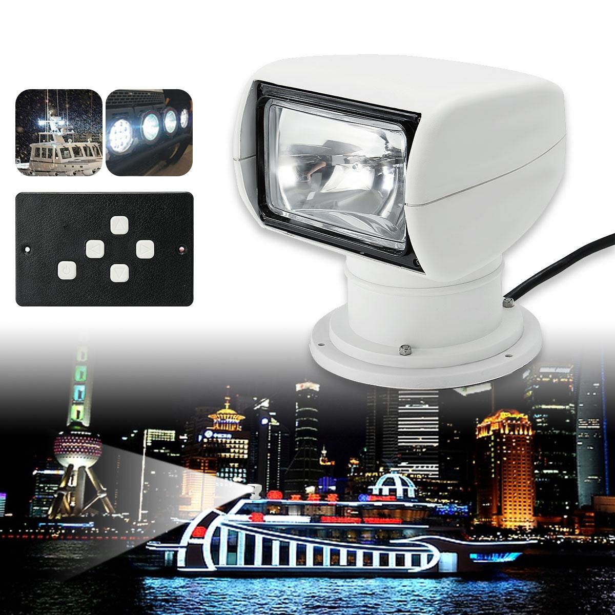 Smuxi Spotlight 12V Marine Boat Spotlight 2500LM Remote Control White Adjustable Waterproof Searchlight Light PC+Aluminum