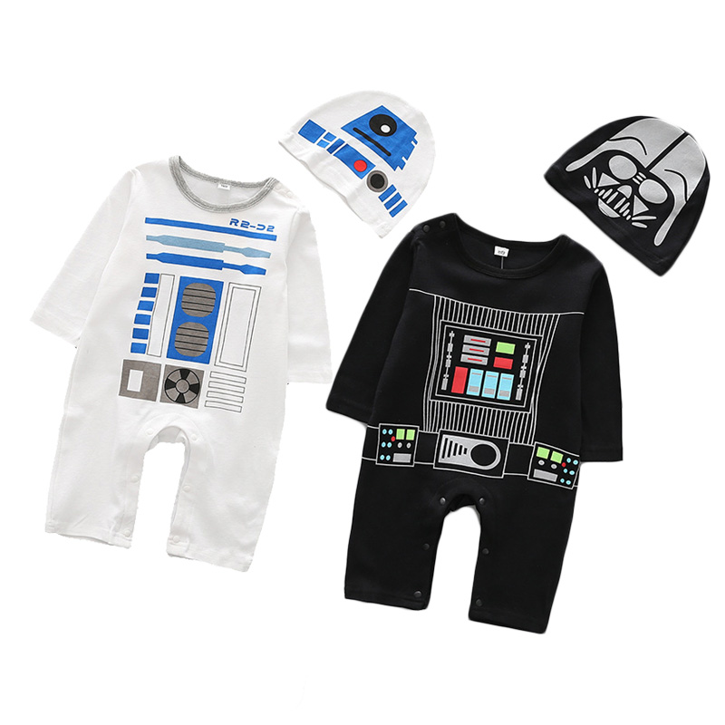 Infant Baby Star Wars Rompers Darth Vader Costume For Baby Boys Girls With Hat Cotton Jumpsuit Spring Autumn Newborn Cute Outfit