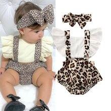 Леопардовые для малышей и девочек Ползунки для новорожденных, детские комбинезоны с оборками для девочек, одежда с повязкой на голову