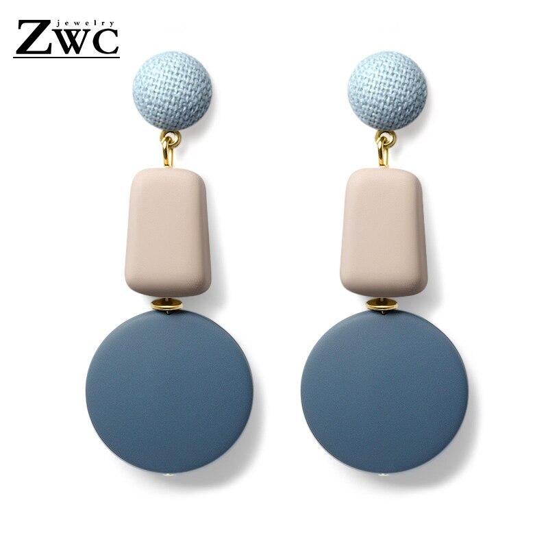 ZWC Fashion Korean Blue Geometric Acrylic Wood Drop Earrings for Women Statement Dangle Earring 2019 Jewelry brincos oorbellen