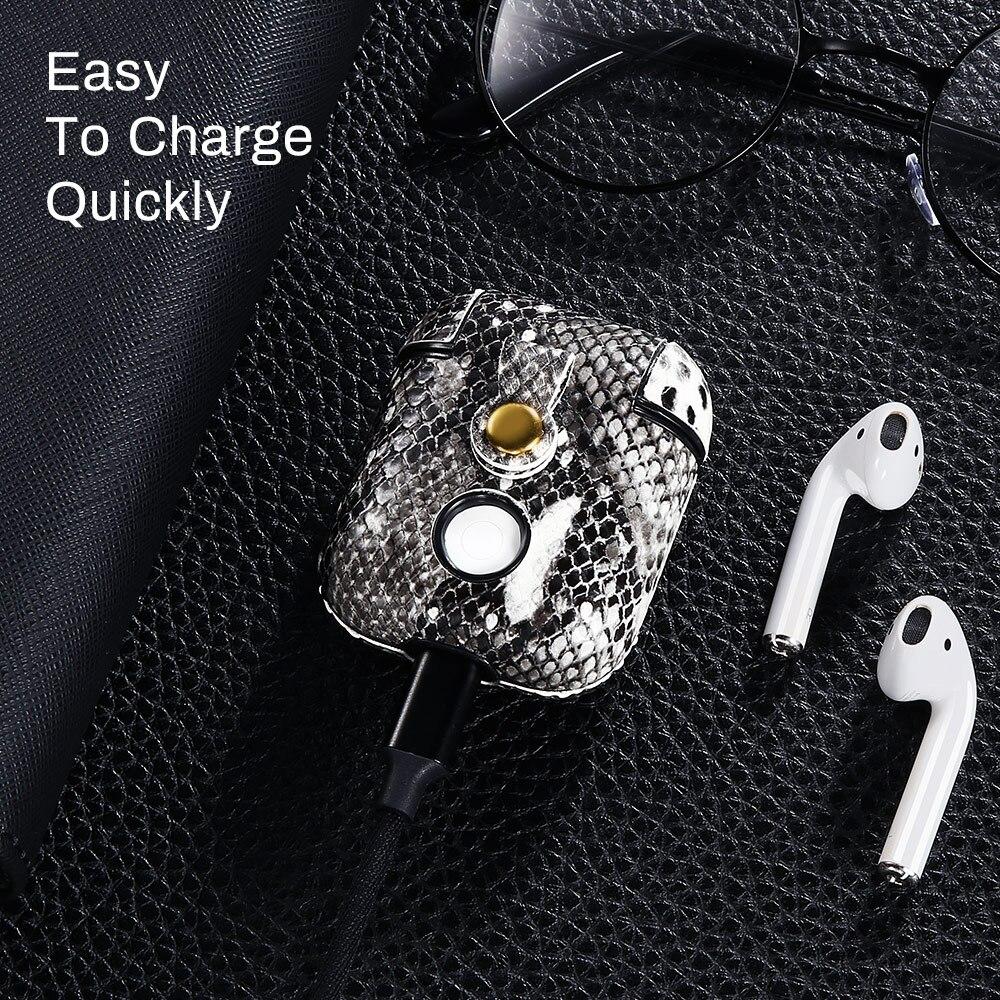 עבור apple עור נחש אוזניות Case עבור Apple AirPods מגן אנטי-איבדו אוזניות Bluetooth אלחוטית Pod האוויר בתוך שקיק אופנה Carcasa Bag (4)