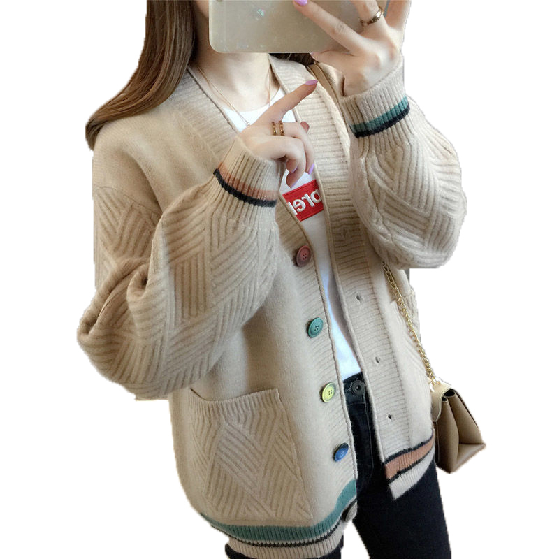 Thick Cardigan Female 2019 Spring Autumn Long Sleeve Crochet V Neck Knitted Cardigan Women Sweaters Women Knitted Jacket Tops