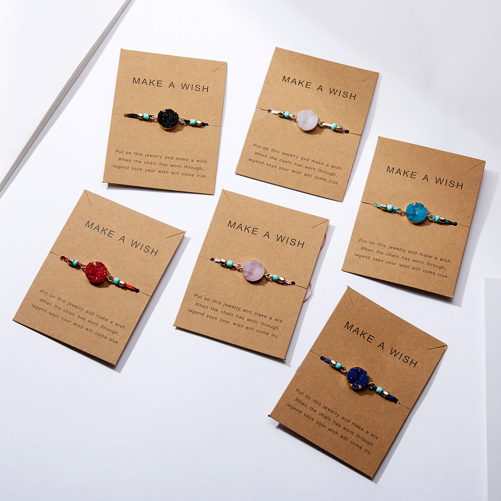 Bracelets Bohemian Make a wish Handemade Woven Adjustable Charm Lucky Paper Card Rope Lucky Red String Jewelry Women Best Gift image
