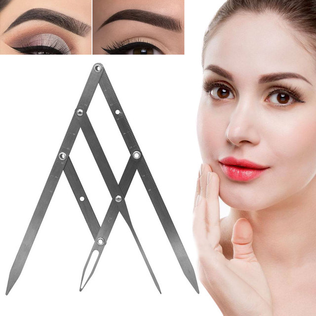 Reusable Portable Calipers Stencil Stainless Steel Golden Ratio Fordable Eyebrow Ruler Design Measure Makeup Tool Precisely 3