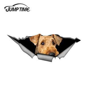 Jump Time 13cm x 5cm 3D Airedale Terrier Car Sticker Pet Dog Car Decoration Torn Metal Decal Reflective Car Styling Funny Animal(China)