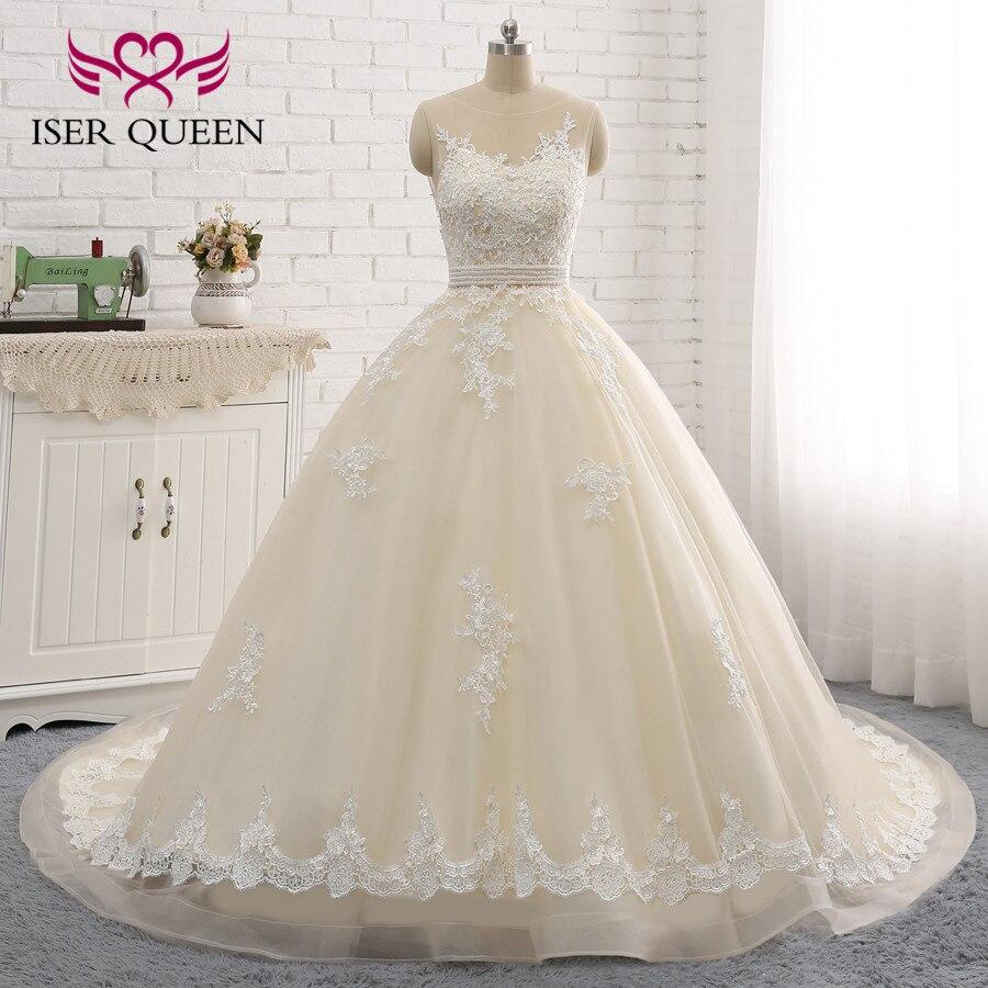 Appliques exquises paillettes perles ceintures arc robe de bal robes de mariée vestido de noiva ombro a ombro Illusion Champagne W0047