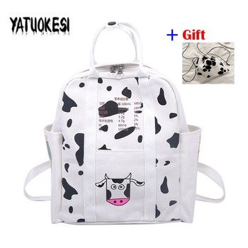 Cute Girls Milks Cow Printing Travel Backpack Bag For Teenagers Girls School Bags For Women Canvas Fashion Backpack Mochilas joyir women backpack genuine leather fashion travel backpack mochilas school leather shopping travel bags schoolbags for girls