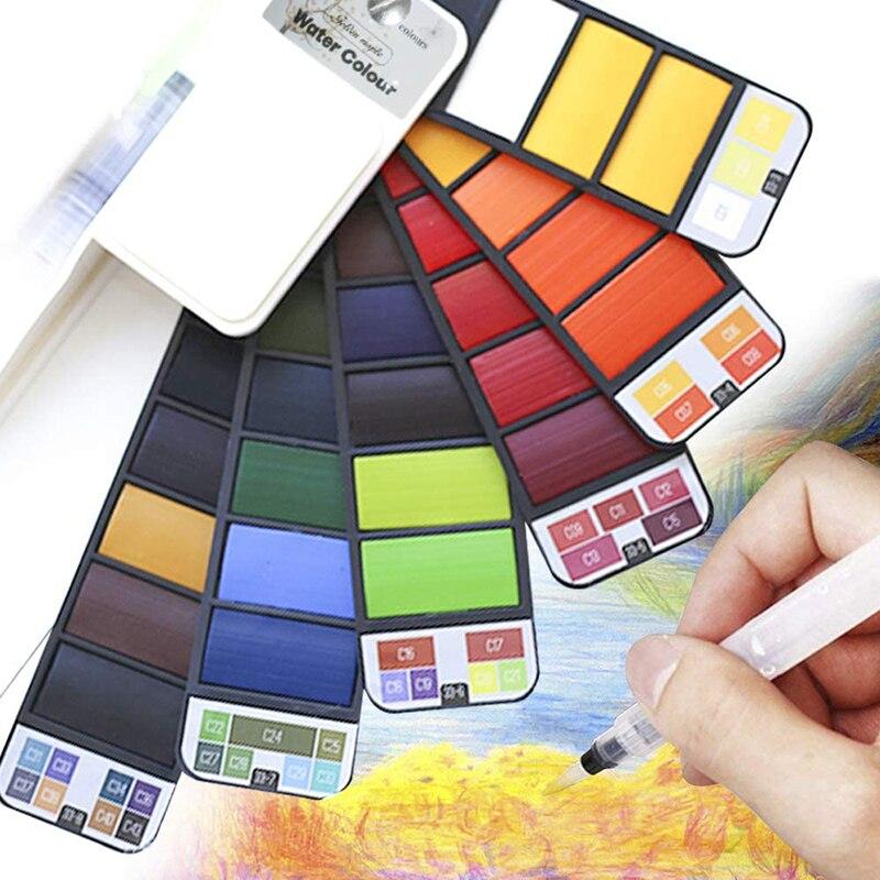 Pintura em aquarela 18/25/42 cores água cor pintura escova portátil sólido aquarela pigmento conjunto para fontes de arte aquarela