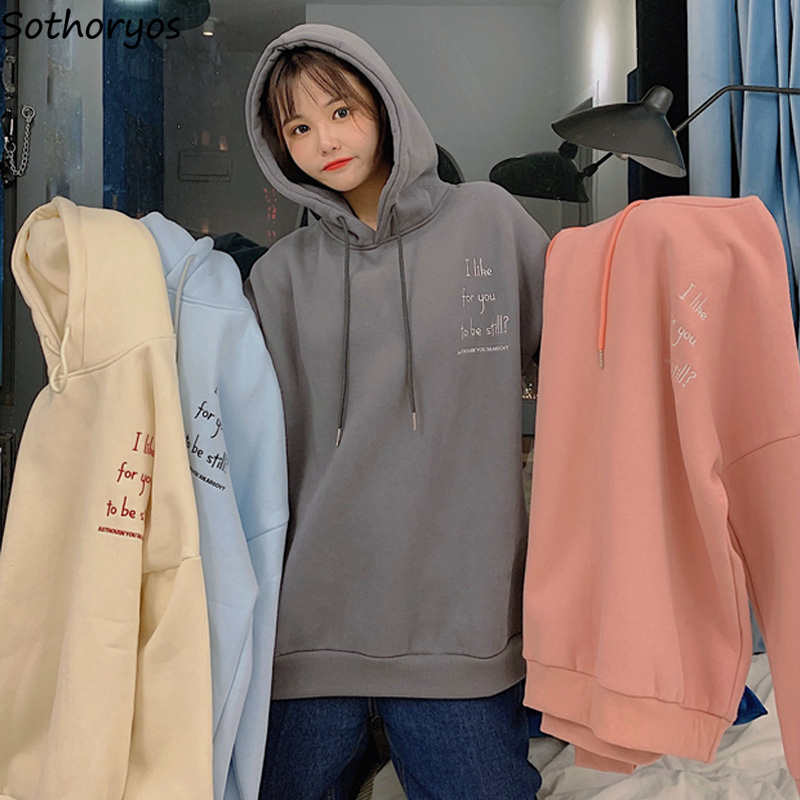 Hoodies Women Thicker Letter Embroidery Korean Style Harjauku Loose Sweet Pink Hoodie Thicker Velvet Warm Clothes Ulzzang Casual