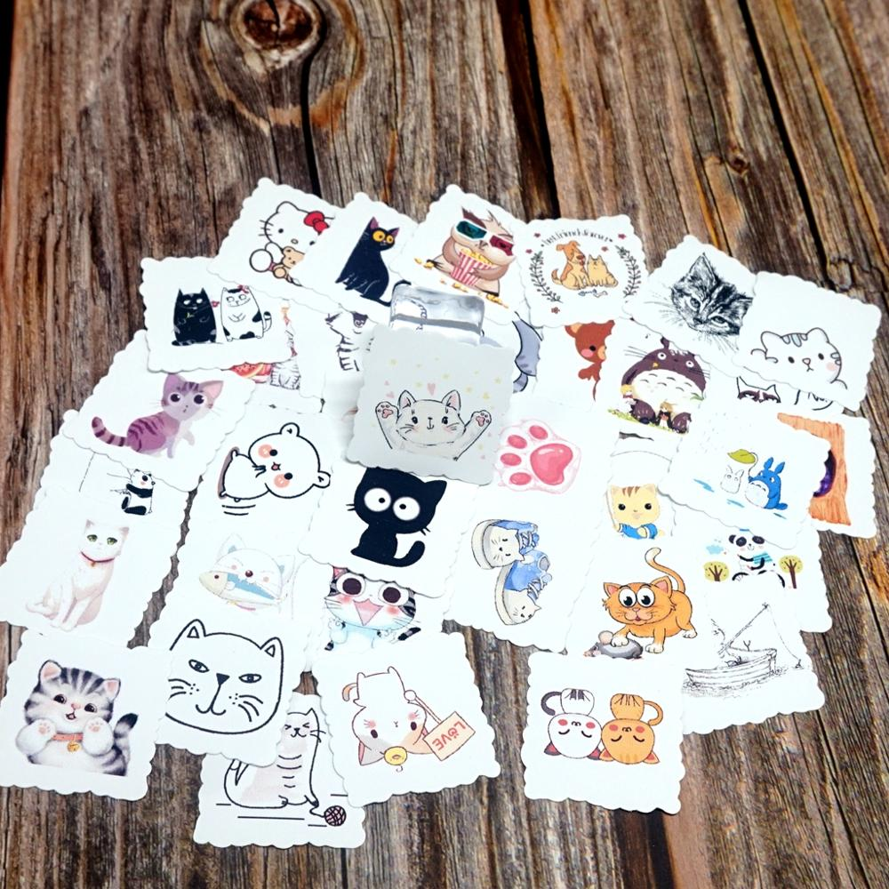 35pcs Cute Cat Animals Waterproof Stickers DIY Diary Stationery Scrapbooking Album Stickers Laptop Suitcase Bicycle Toy Stickers