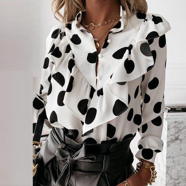 Casual Leopard Dot Print Ruffle Blouse Shirt Autumn Winter Long Sleeve Women Shirts Elegant Office Lady V-Neck Button Tops Blusa 3
