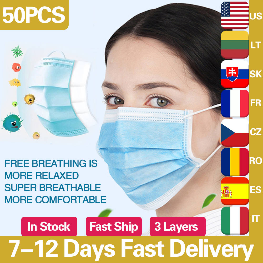 50pcs Disposable Mask Face Mouth Mask Non-Woven Prevent Anti-Dust 3 Layers Anti Influenza Earloops Masks