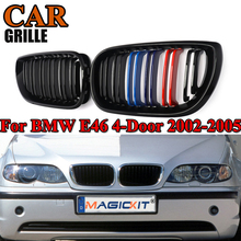 MagicKit 1 Pair Front Bumper Kidney Grill Grills 2 Line Slat M Color 3 Color for BMW 3 Series E46 4-Door 2002-2005 Racing Grille 3 pair front