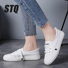 STQ Outono Mulheres Apartamentos Sapatilhas Sapatos Das Senhoras Lace up Sapatos Casuais PU Sapatos de Couro Mulheres Sapatos Casuais Sapatos Brancos Tênis 768