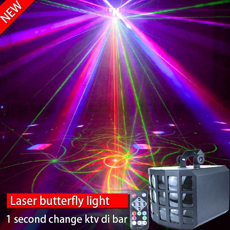 Control remoto láser mariposa lámpara versión mejorada de LED bar luz etapa luz Sala rendimiento boda giratorio colorido noche Bola de discoteca giratoria activada por sonido, luces de fiesta, luz estroboscópica, luces de escenario led RGB de 3W para Navidad, hogar, KTV, espectáculo de Bodas de Navidad