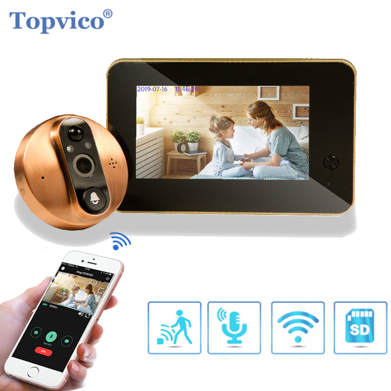 Topvico Wifi Doorbell Camera Video Peephole Door Intercoms 4.3 Inch Motion Detection Wireless Door Viewer Video eye Smart Ring-in Doorbell from Security & Protection