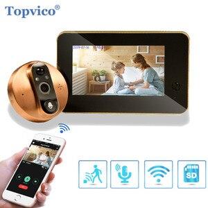 Image 1 - Topvico timbre de puerta inalámbrico con Wifi, mirilla de vídeo, intercomunicador de puerta de 4,3 pulgadas, detección de movimiento, visor de puerta, anillo inteligente