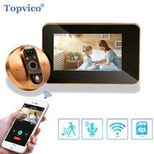 Topvico wi fi campainha câmera de vídeo peephole porta intercom 4.3 Polegada detecção de movimento sem fio visor da porta de vídeo olho anel inteligente