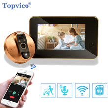 Topvico wifiドアベルのぞき穴ドアインターホン4.3インチモーション検出ワイヤレスののぞき穴ビデオ 目スマートリング
