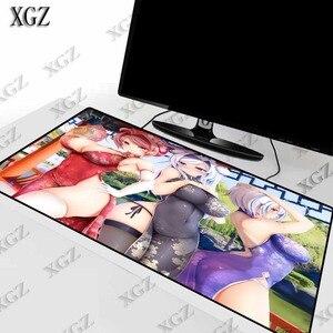 Xgz sexy menina grande mama anime gaming mouse pad computador almofada grande jogo de bloqueio borda esteira mesa para computador portátil