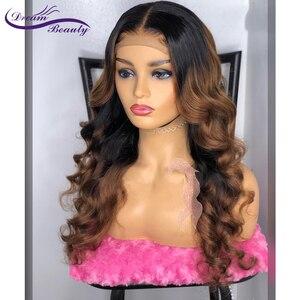 Image 4 - Peluca de encaje Frontal ombré de color 1b/30 cabello humano ondulado prearrancado, brasileño, Remy, encaje completo