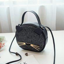 Luxo gato impressão crossbody sacos para as mulheres metade redonda mensageiro saco de couro do plutônio bolsas bolsa de ombro sac principal femme novo # yj