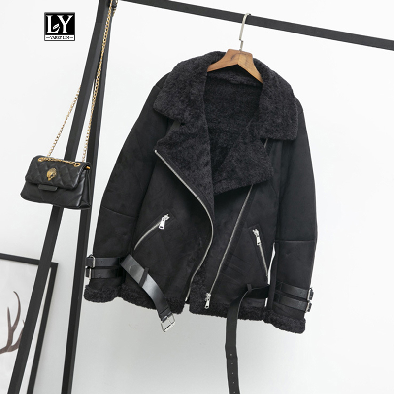 Ly Varey Lin Women Faux   Leather   Lambs Wool Fur Collar   Suede   Jacket Coats Warm Winter Thick Female Loose Faux Lamb Jacket Outwear